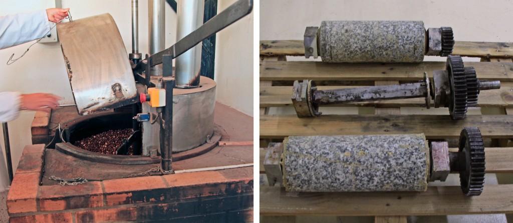 Noisettes en cours de torréfaction et meules de granit