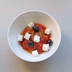 Chakchouka, feta, olives