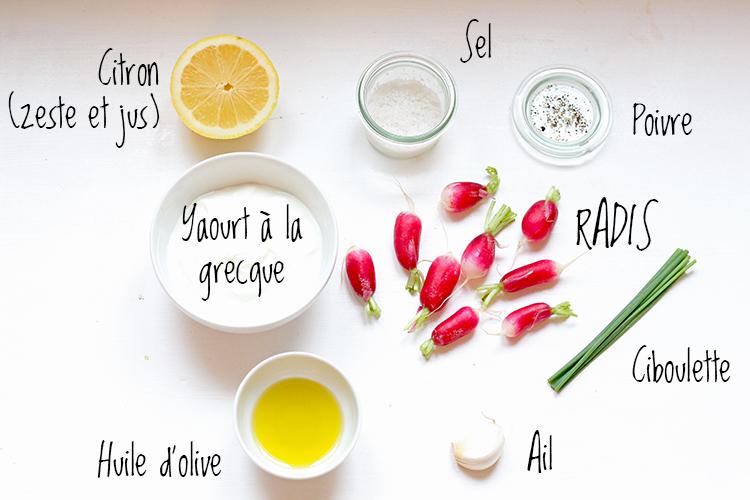 tzatziki de radis roses à la ciboulette, dip au radis, tartinade au radis