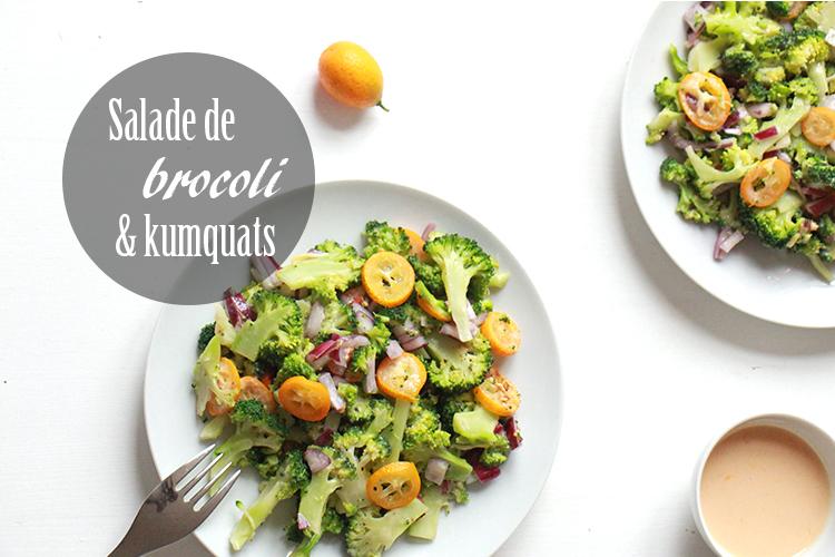 Salade croquante et vitaminée au brocoli, kumquat et amandes