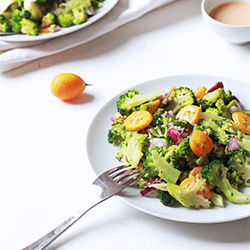 Salade brocoli, kumquat et amandes
