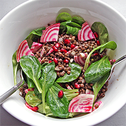Salade lentilles, mâche, betterave et grenade