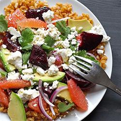 salade petit épeautre, betterave et pomelo